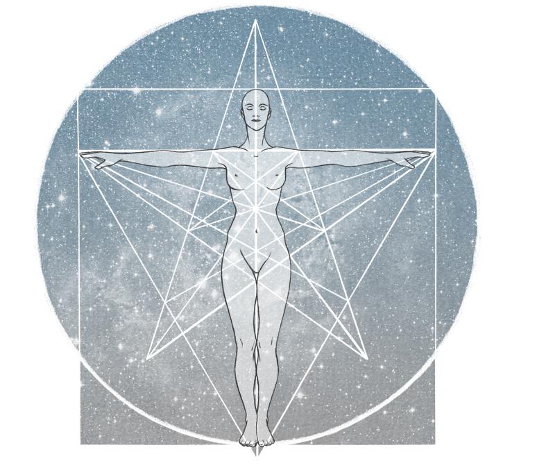Illustration représentant une femme nue dans l'espace et symbolisant la spiritualité, l'élévation de l'esprit.