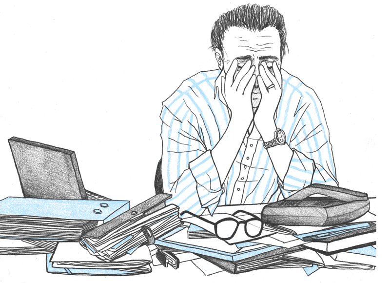 Illustration représentant un homme à son bureau et symbolisant le stress au travail et les perturbations chez l'adulte.