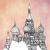 Croquis d'architecture représentant la Cathédrale Saint-Basile de Moscou, symbole de l'architecture traditionnelle russe.