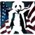 Illustration d'un panda avec les couleurs rouge et bleu et le drapeau de l'Amérique