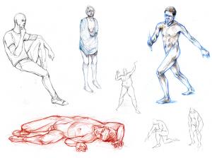 Illustration de nus, dessins de modèle vivant, la représentation du corps humain.