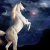 Photomontage kitch avec la galaxie et une licorne, réaliste et hipster..