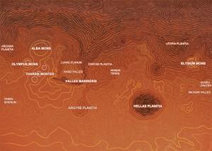Cartographie - géographie - topographie de Mars.